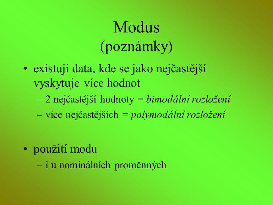Modus (poznámky) existují data, kde se jako nejčastější vyskytuje více hodnot. 2 nejčastější hodnoty = bimodální rozložení.