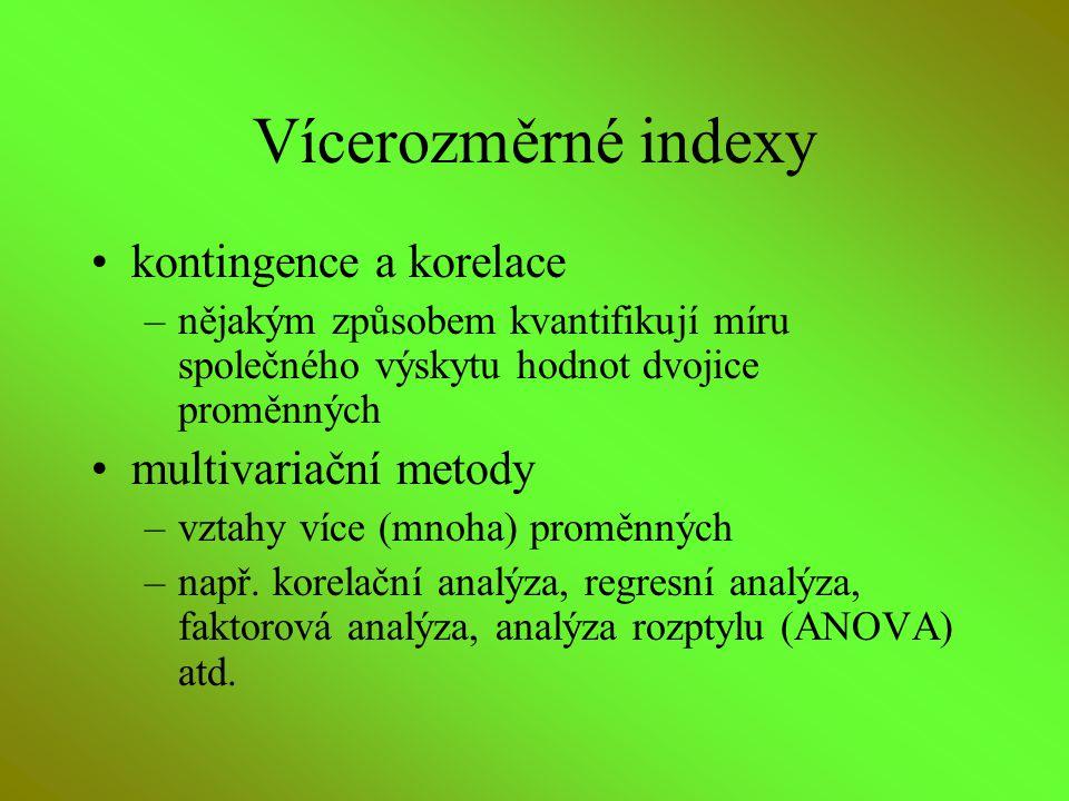 Vícerozměrné indexy kontingence a korelace multivariační metody