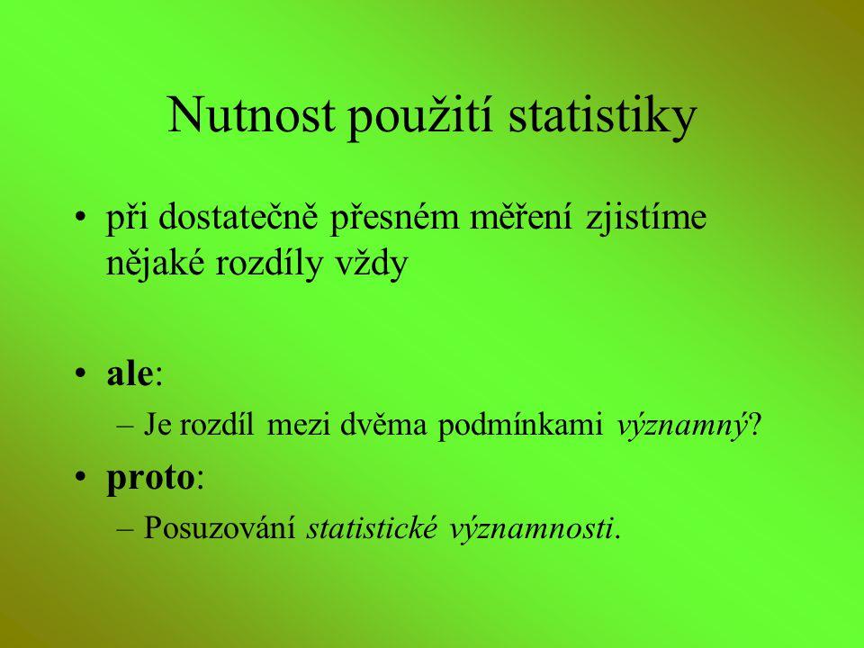 Nutnost použití statistiky