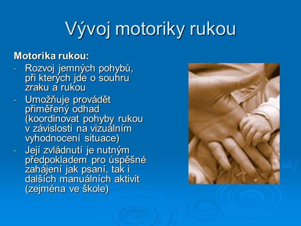 Vývoj motoriky rukou Motorika rukou: