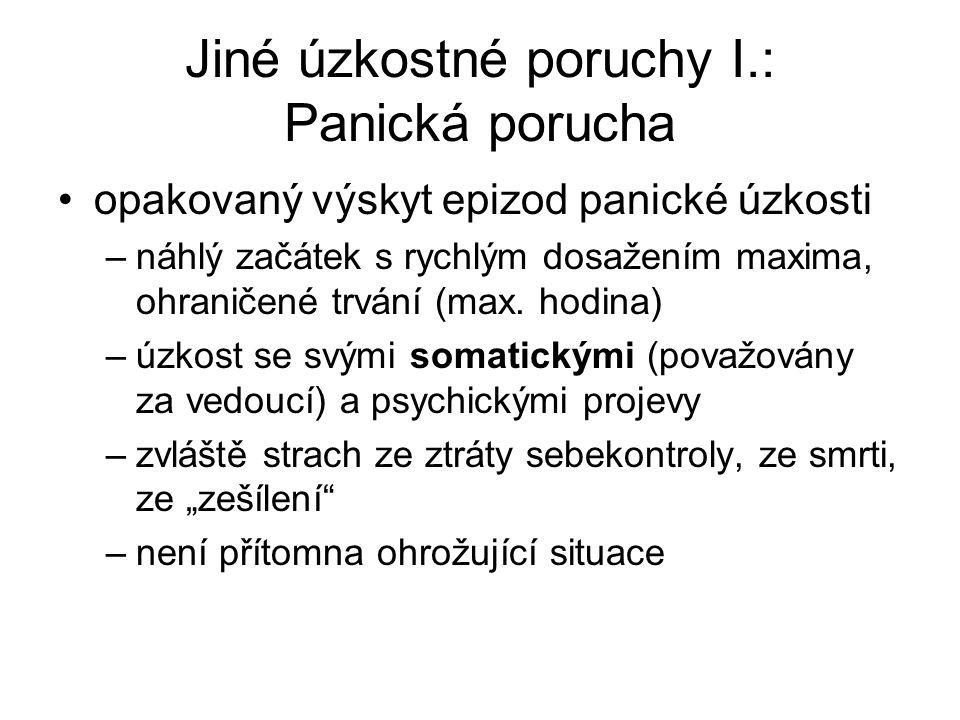 Jiné úzkostné poruchy I.: Panická porucha