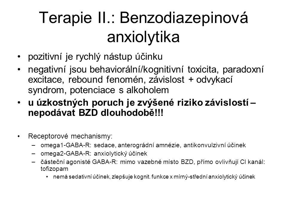Terapie II.: Benzodiazepinová anxiolytika