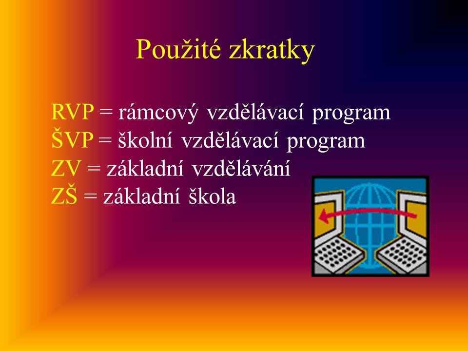 Použité zkratky RVP = rámcový vzdělávací program