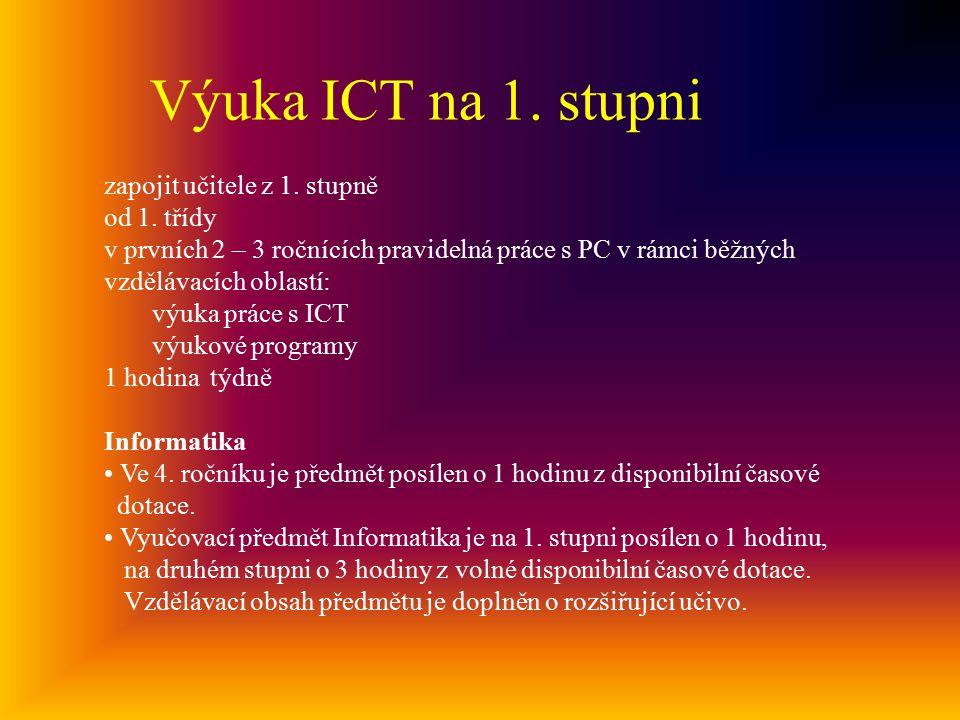 Výuka ICT na 1. stupni zapojit učitele z 1. stupně od 1. třídy