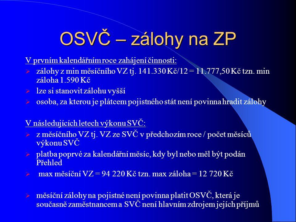 OSVČ – zálohy na ZP V prvním kalendářním roce zahájení činnosti:
