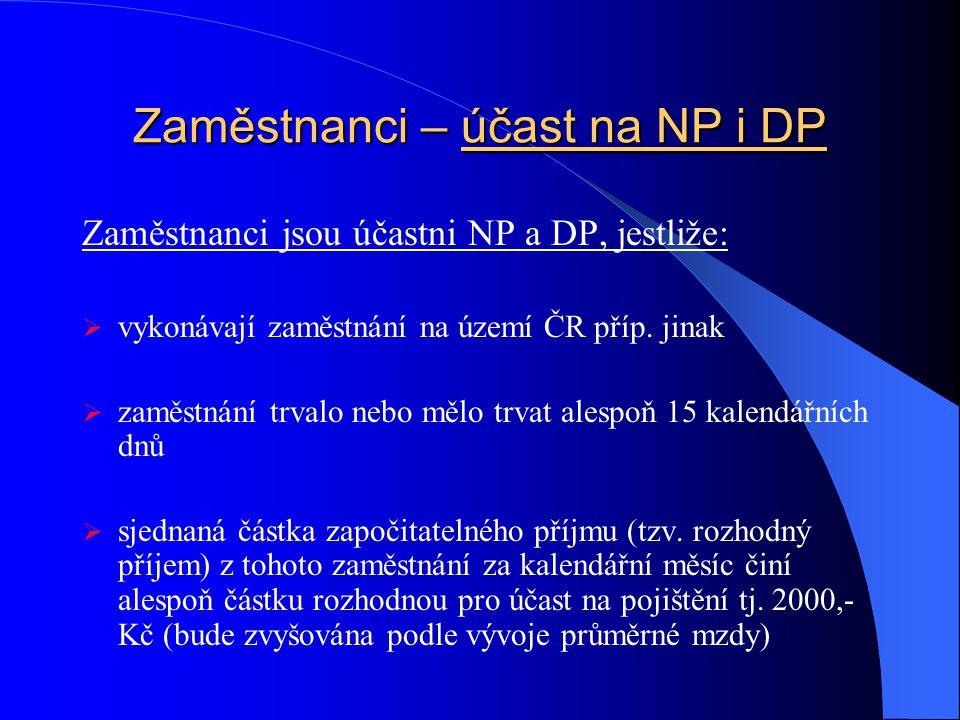 Zaměstnanci – účast na NP i DP