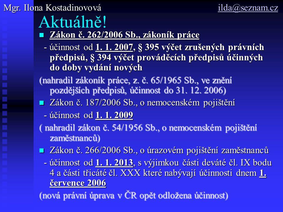 Aktuálně! Mgr. Ilona Kostadinovová ilda@seznam.cz