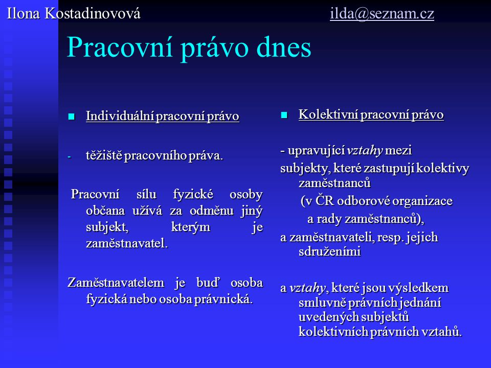 Pracovní právo dnes Ilona Kostadinovová ilda@seznam.cz