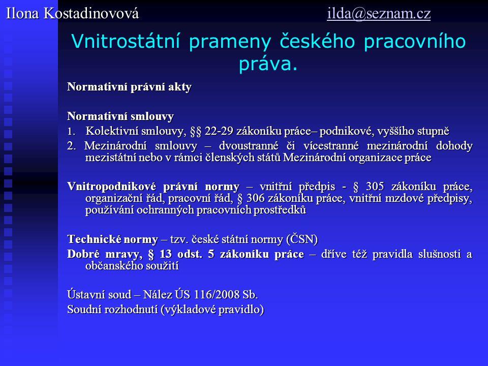 Vnitrostátní prameny českého pracovního práva.