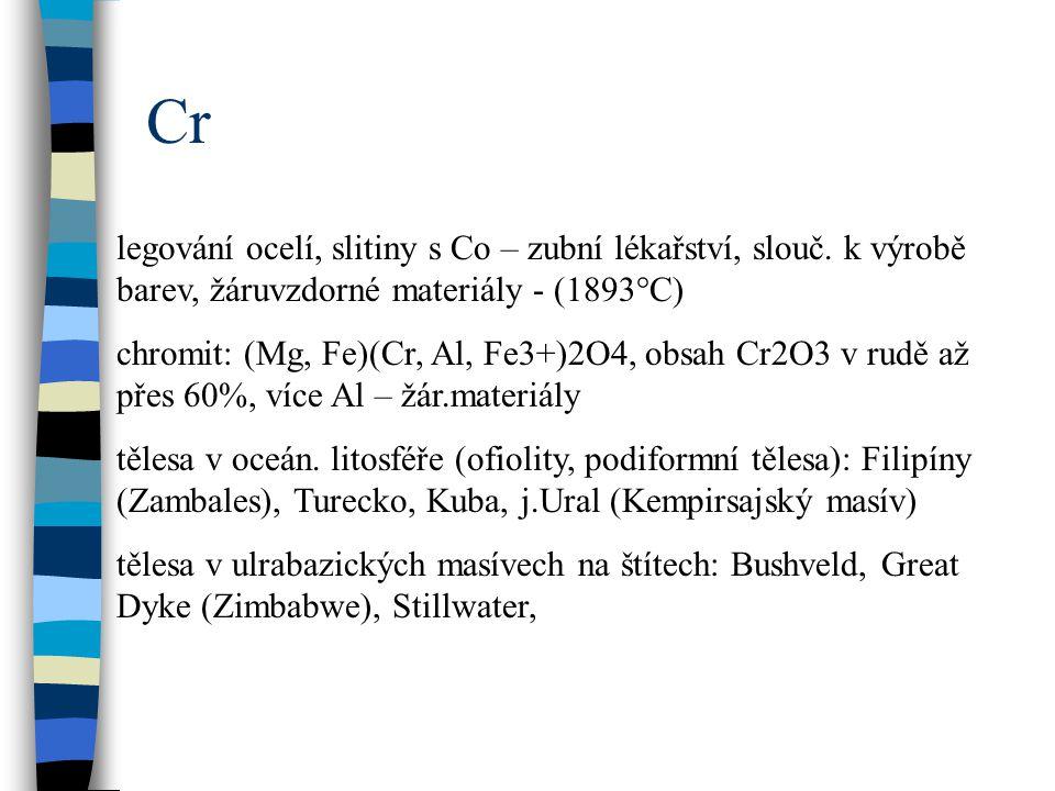 Cr legování ocelí, slitiny s Co – zubní lékařství, slouč. k výrobě barev, žáruvzdorné materiály - (1893°C)