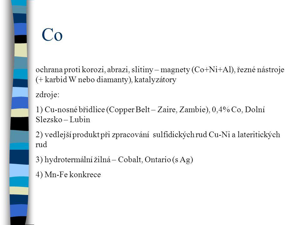Co ochrana proti korozi, abrazi, slitiny – magnety (Co+Ni+Al), řezné nástroje (+ karbid W nebo diamanty), katalyzátory.