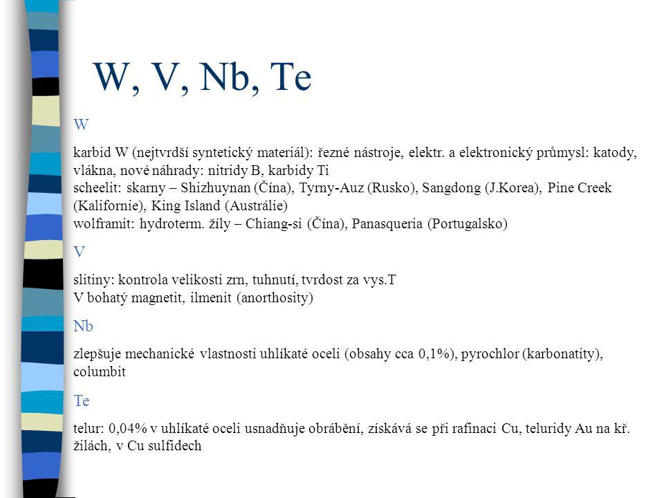 W, V, Nb, Te W.