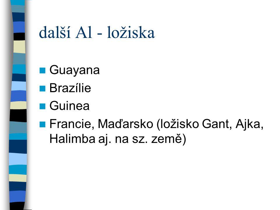 další Al - ložiska Guayana Brazílie Guinea
