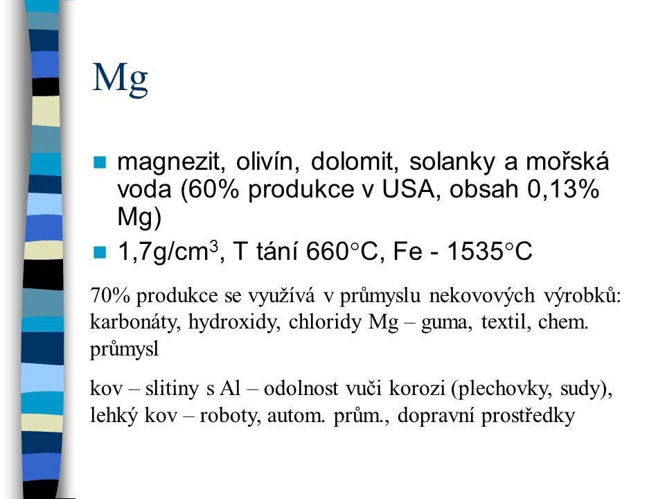 Mg magnezit, olivín, dolomit, solanky a mořská voda (60% produkce v USA, obsah 0,13% Mg) 1,7g/cm3, T tání 660°C, Fe - 1535°C.