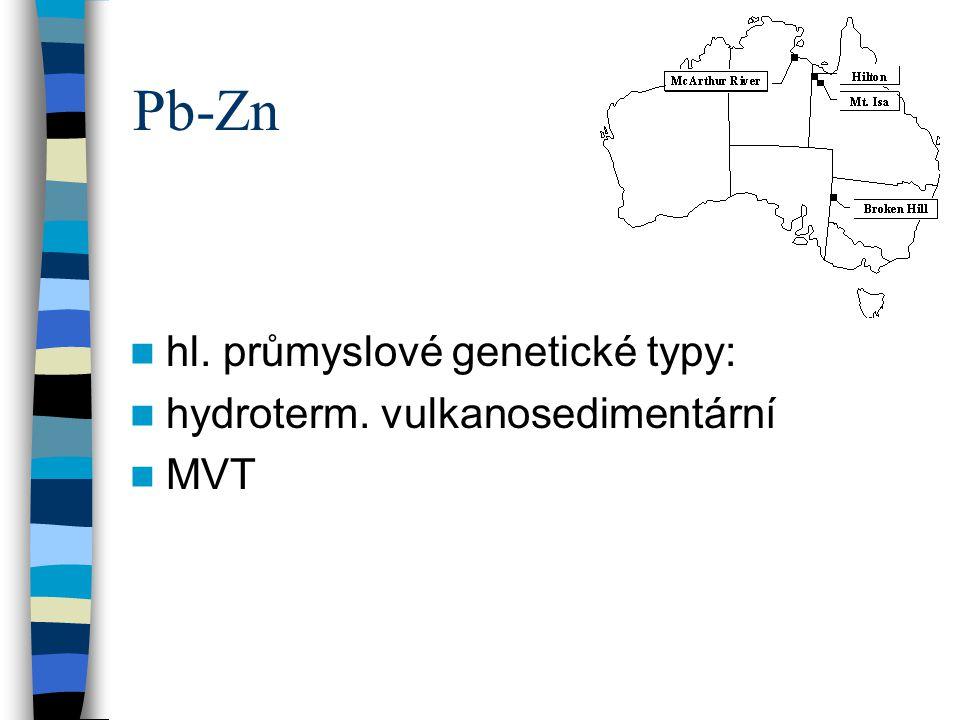 Pb-Zn hl. průmyslové genetické typy: hydroterm. vulkanosedimentární