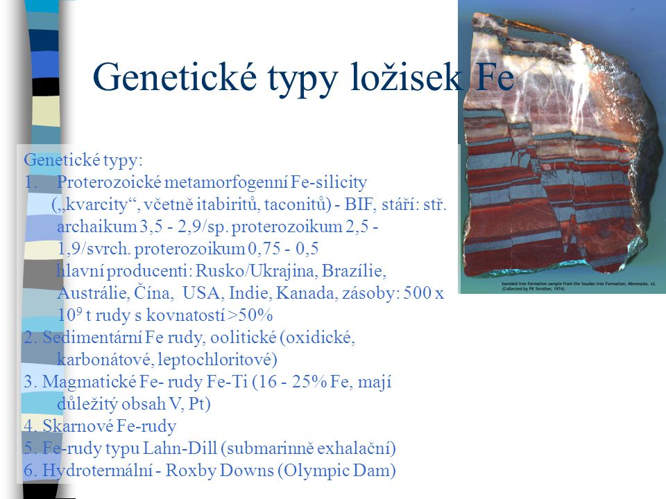 Genetické typy ložisek Fe