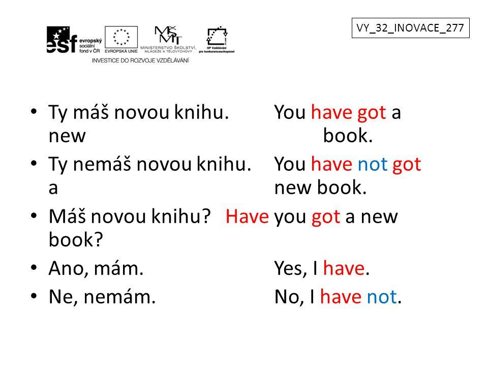 Ty máš novou knihu. You have got a new book.