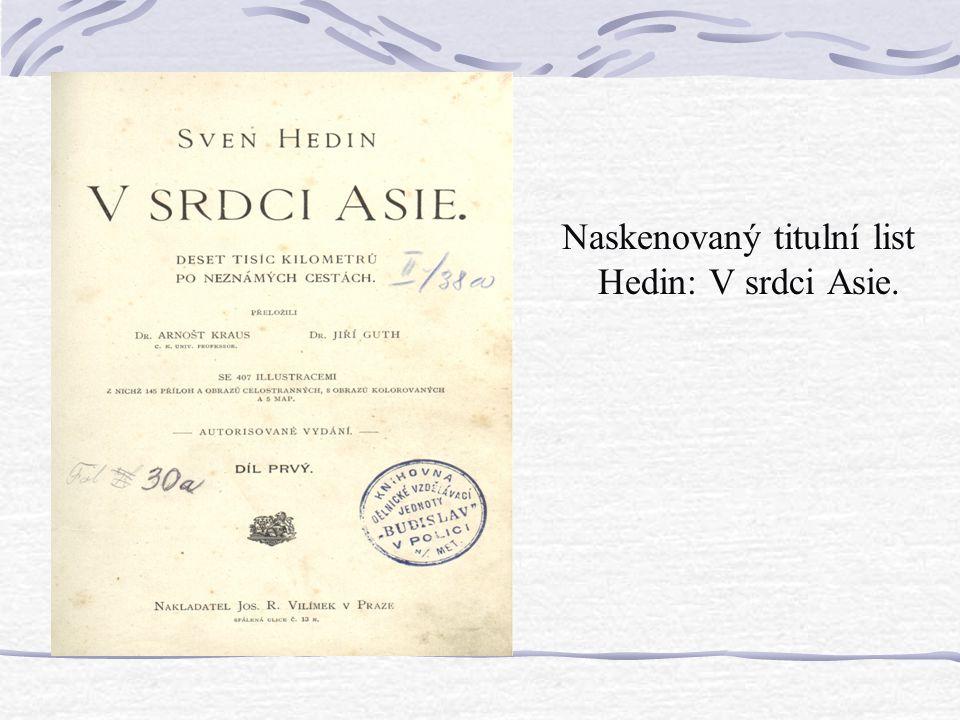 Naskenovaný titulní list Hedin: V srdci Asie.