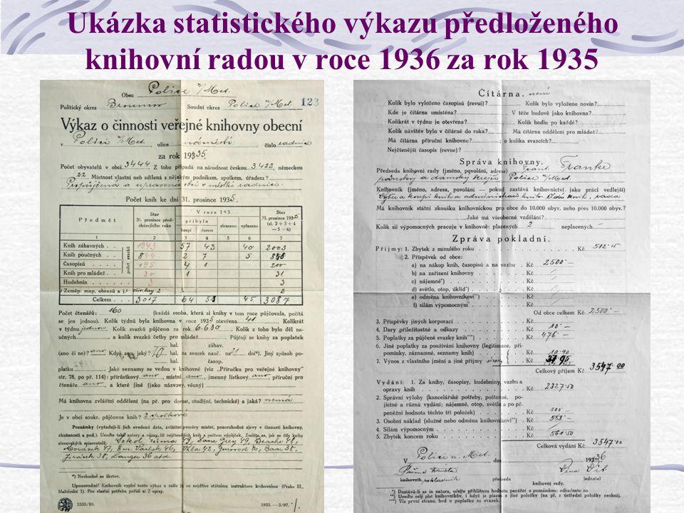 Ukázka statistického výkazu předloženého knihovní radou v roce 1936 za rok 1935