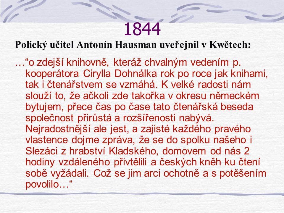 1844 Polický učitel Antonín Hausman uveřejnil v Kwětech: