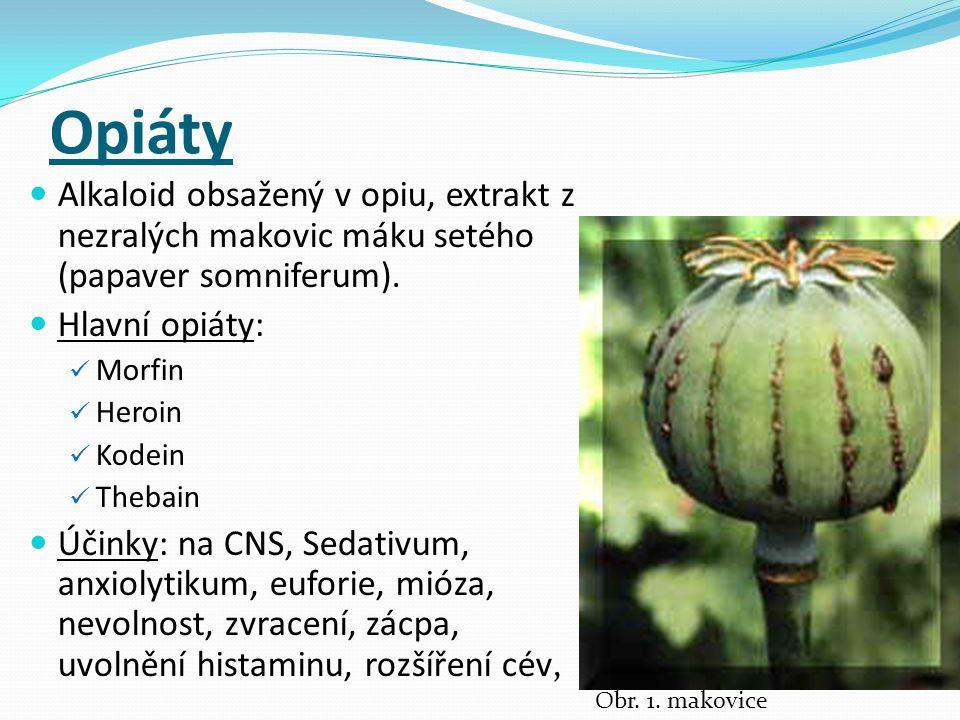 Opiáty Alkaloid obsažený v opiu, extrakt z nezralých makovic máku setého (papaver somniferum). Hlavní opiáty: