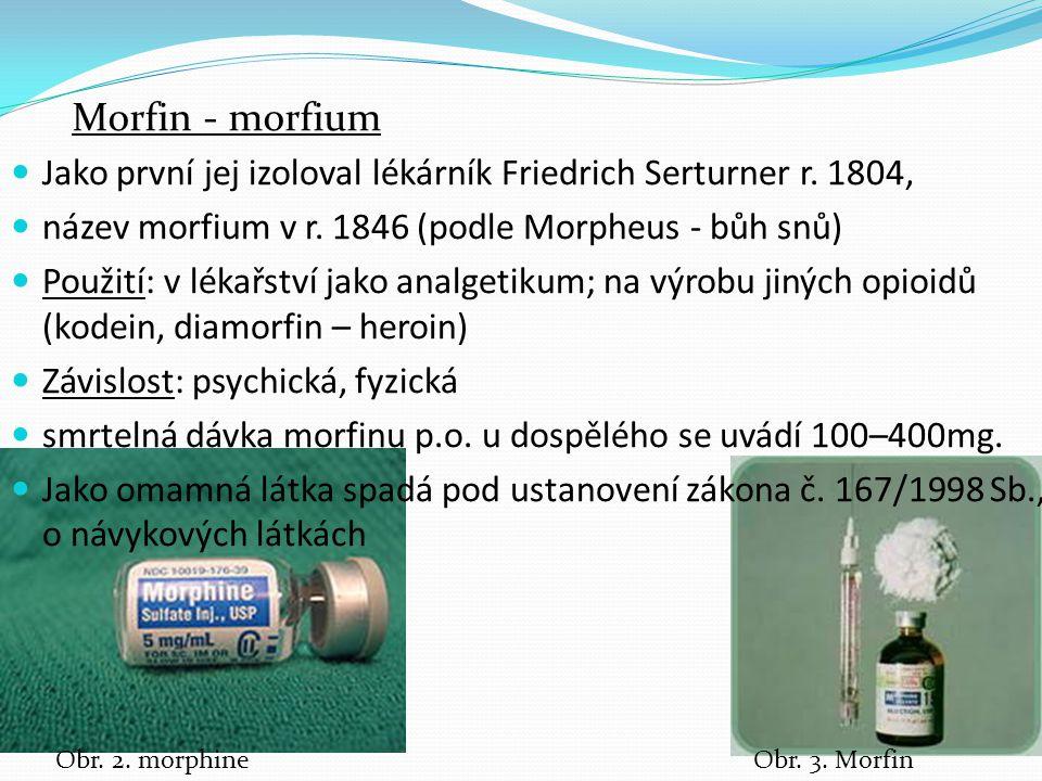 Morfin - morfium Jako první jej izoloval lékárník Friedrich Serturner r. 1804, název morfium v r. 1846 (podle Morpheus - bůh snů)