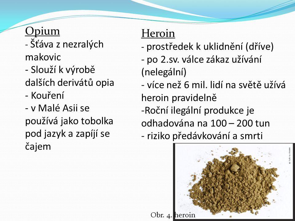 Opium Heroin - po 2.sv. válce zákaz užívání (nelegální)