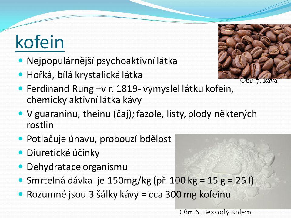 kofein Nejpopulárnější psychoaktivní látka