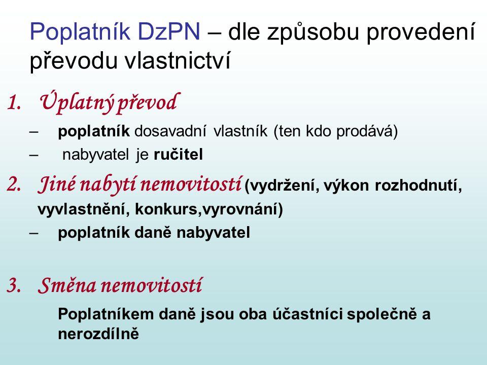 Poplatník DzPN – dle způsobu provedení převodu vlastnictví