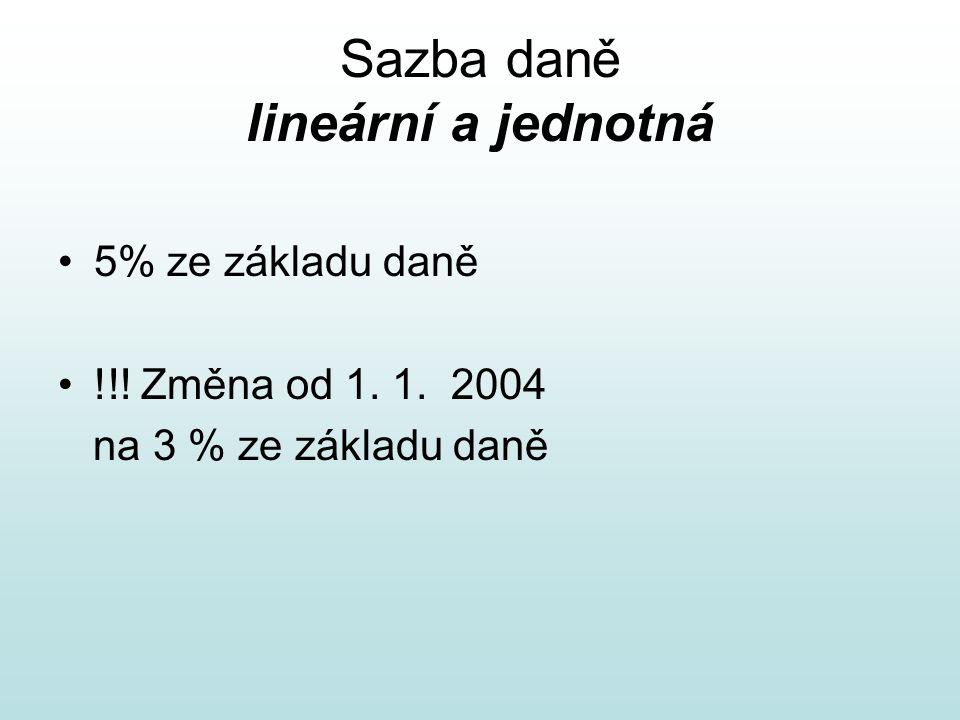 Sazba daně lineární a jednotná