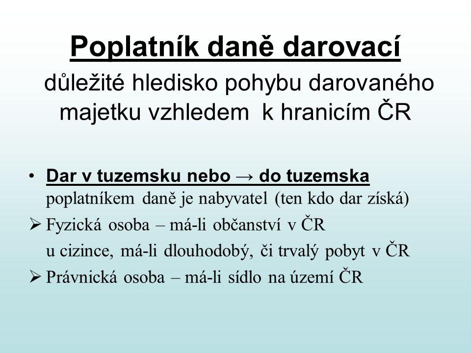 Poplatník daně darovací důležité hledisko pohybu darovaného majetku vzhledem k hranicím ČR