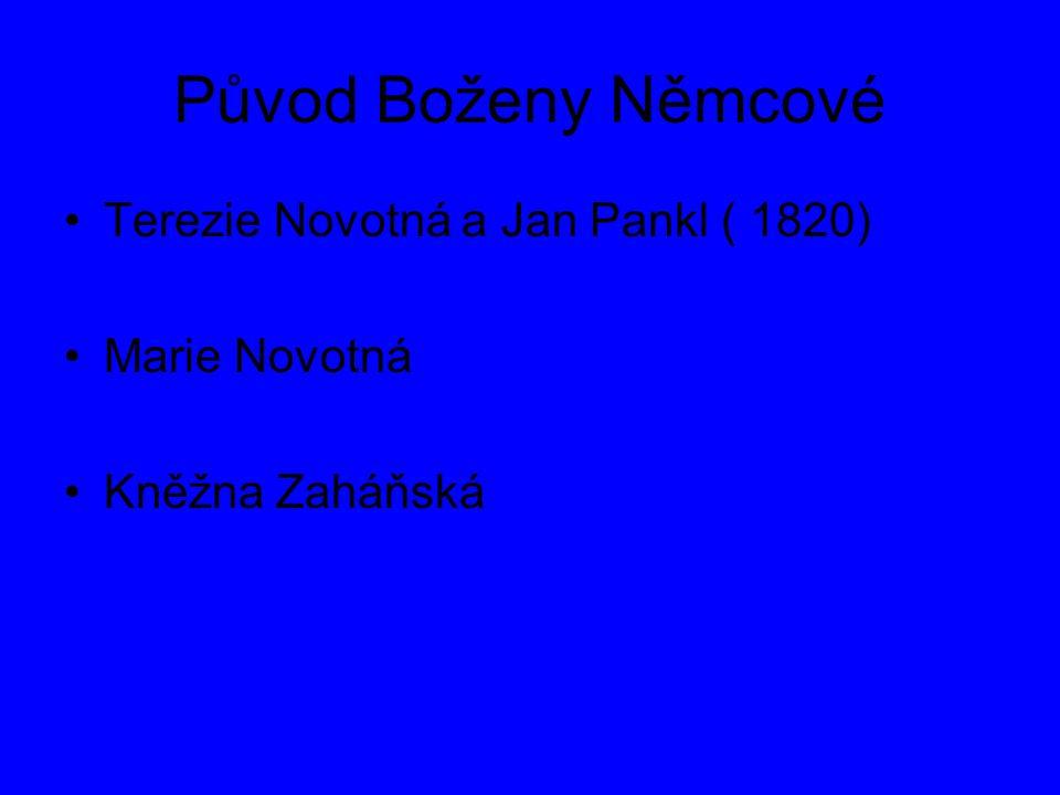 Původ Boženy Němcové Terezie Novotná a Jan Pankl ( 1820) Marie Novotná