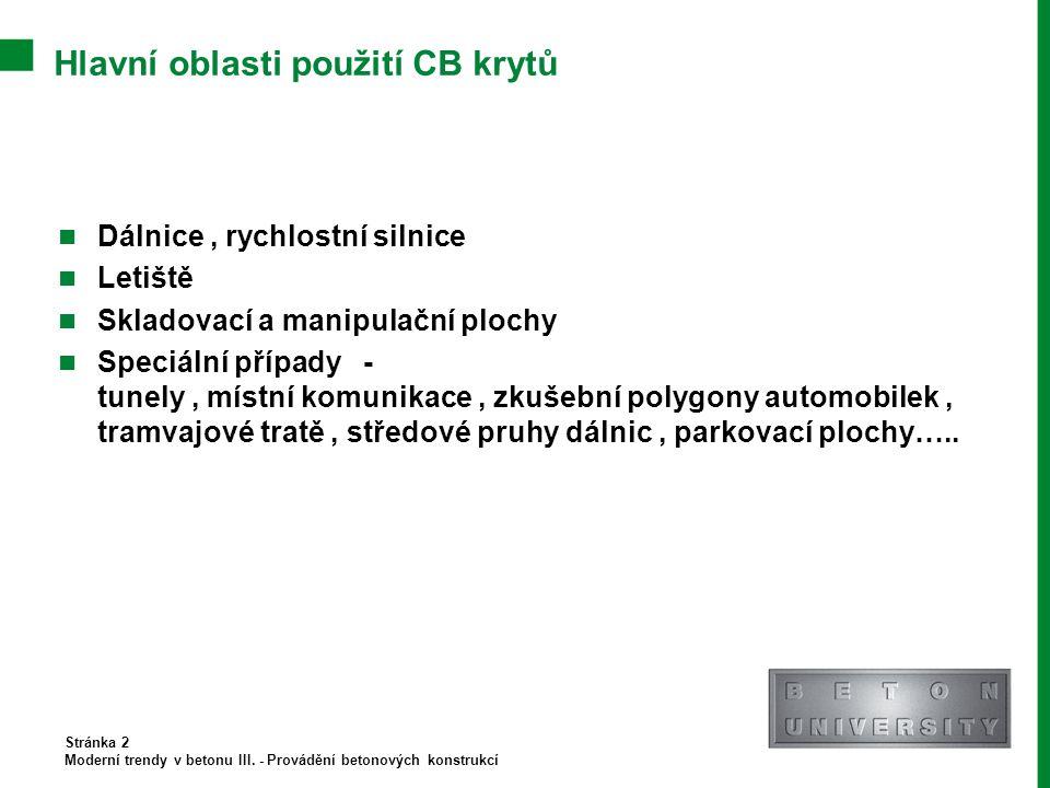 Hlavní oblasti použití CB krytů
