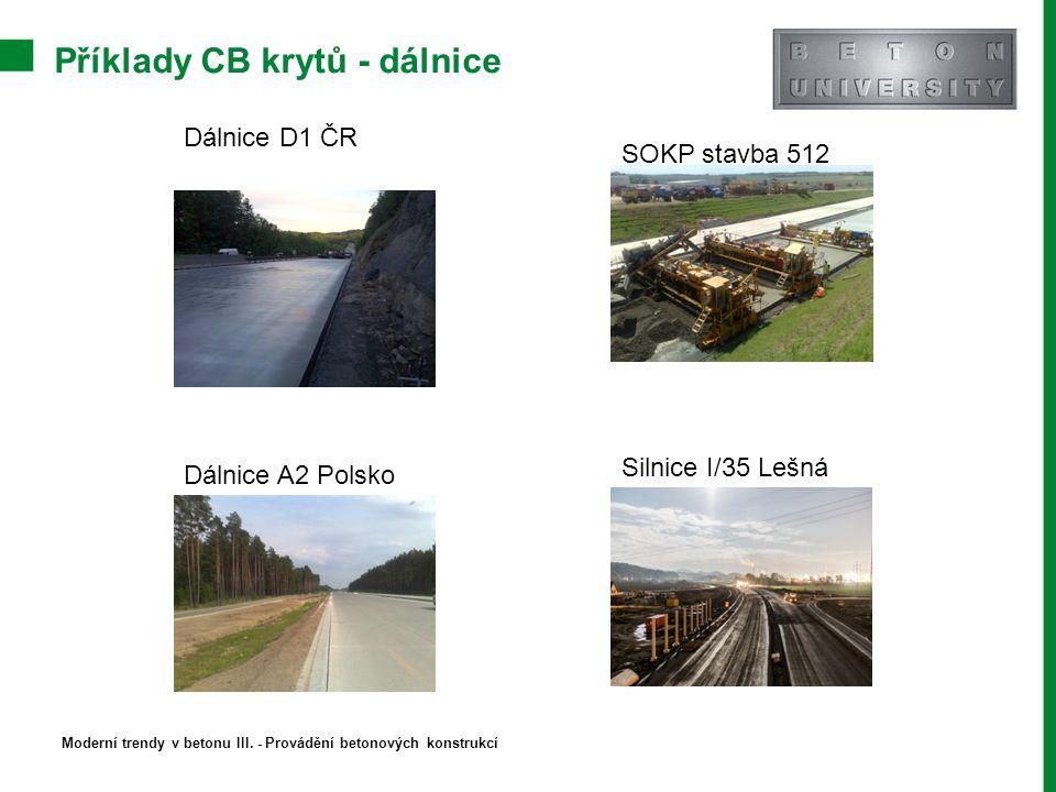 Příklady CB krytů - dálnice