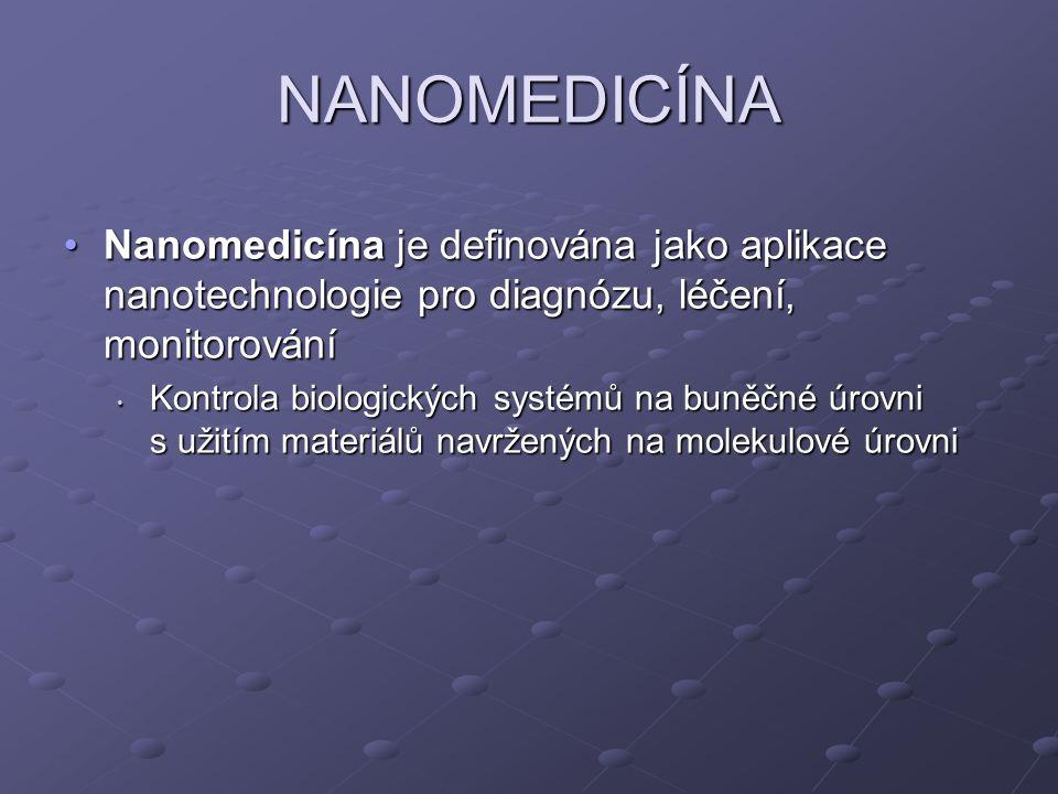 NANOMEDICÍNA Nanomedicína je definována jako aplikace nanotechnologie pro diagnózu, léčení, monitorování.