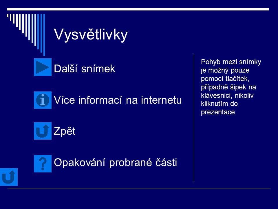 Vysvětlivky Další snímek Více informací na internetu Zpět