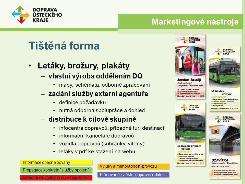 Tištěná forma Marketingové nástroje Letáky, brožury, plakáty