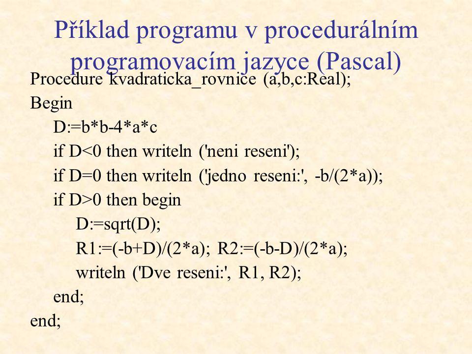 Příklad programu v procedurálním programovacím jazyce (Pascal)
