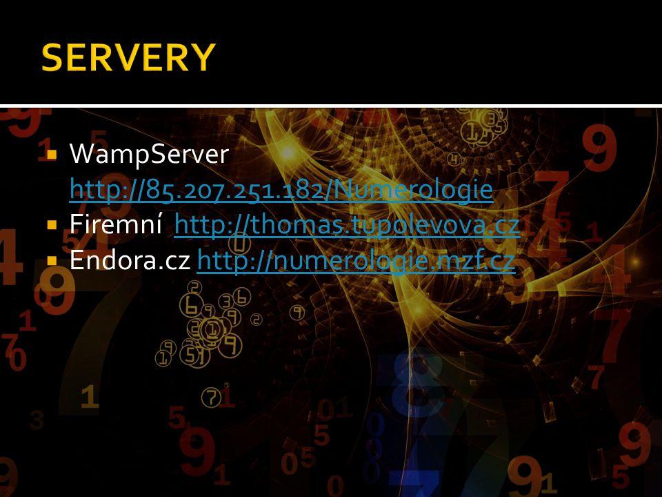 SERVERY WampServer http://85.207.251.182/Numerologie