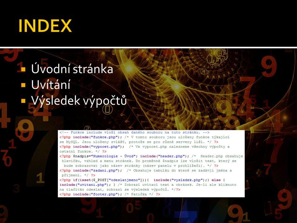 INDEX Úvodní stránka Uvítání Výsledek výpočtů