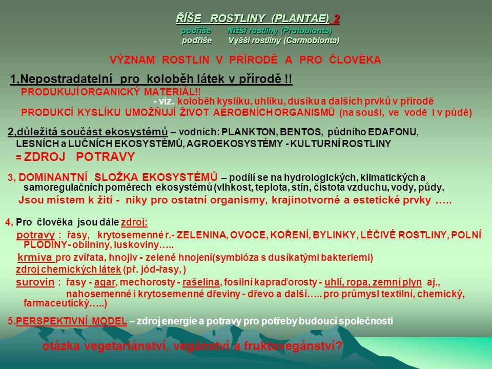 ŘÍŠE ROSTLINY (PLANTAE) 2 podříše Nižší rostliny (Protobionta) podříše Vyšší rostliny (Carmobionta)