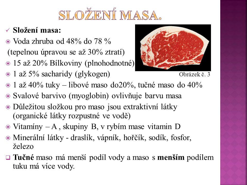 složení masa. Složení masa: Voda zhruba od 48% do 78 %