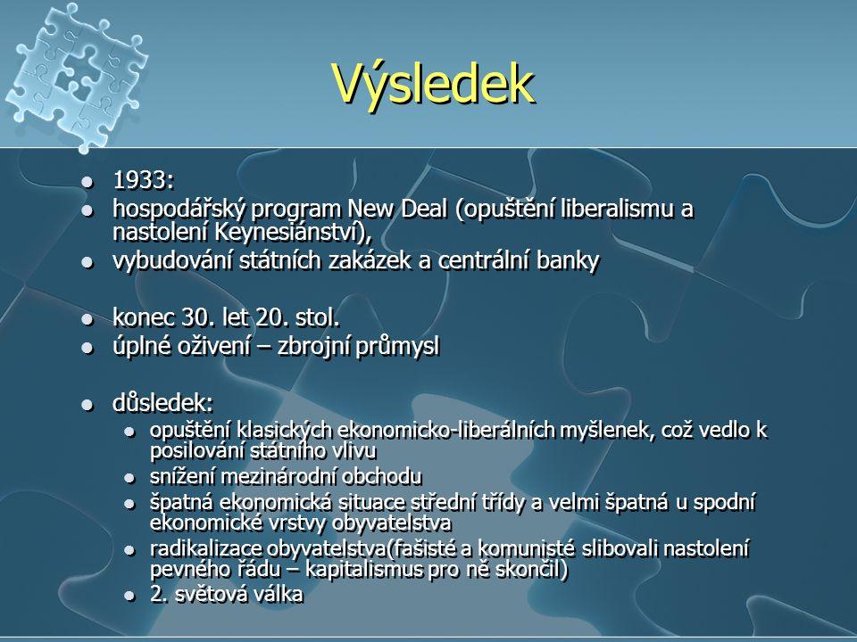 Výsledek 1933: hospodářský program New Deal (opuštění liberalismu a nastolení Keynesiánství), vybudování státních zakázek a centrální banky.