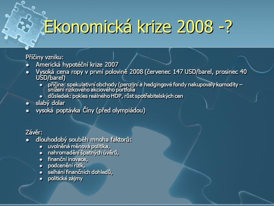 Ekonomická krize 2008 - Příčiny vzniku: Americká hypotéční krize 2007