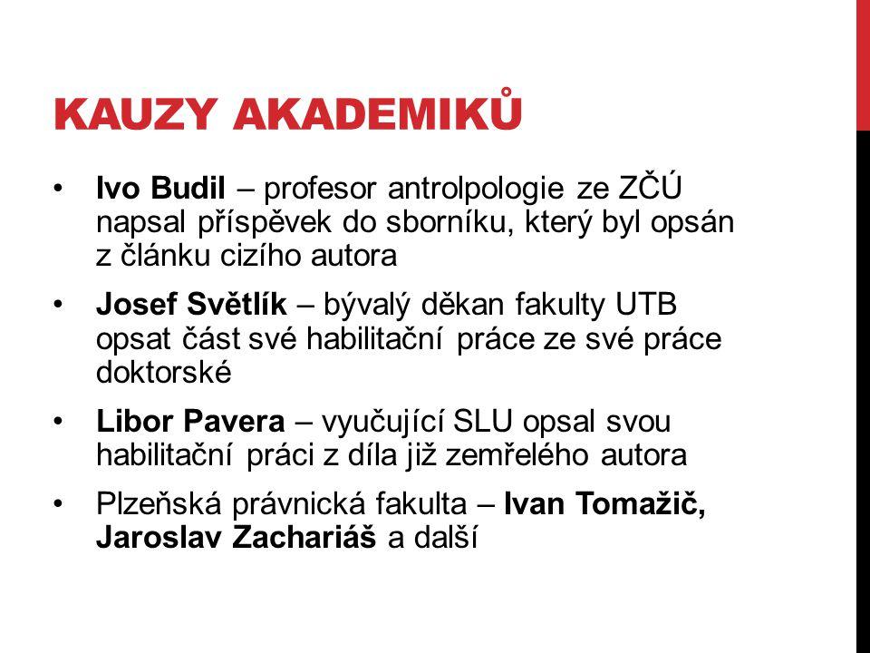 kauzy akademiků Ivo Budil – profesor antrolpologie ze ZČÚ napsal příspěvek do sborníku, který byl opsán z článku cizího autora.