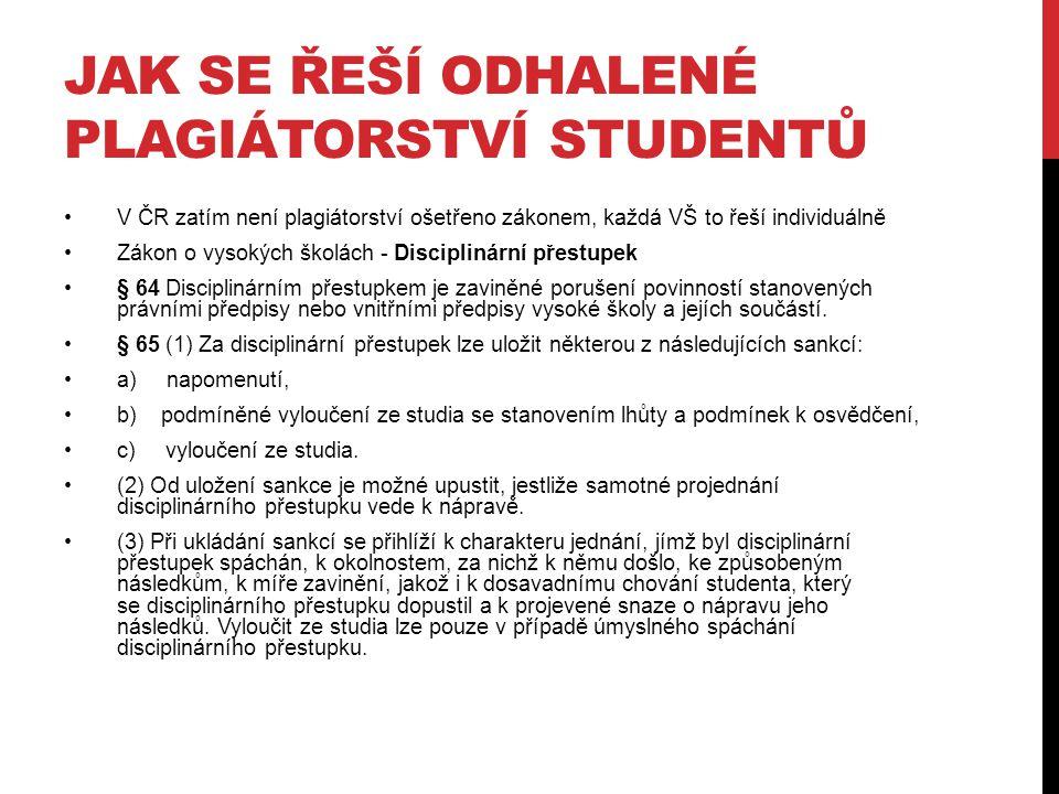 Jak se řeší odhalené plagiátorství studentů