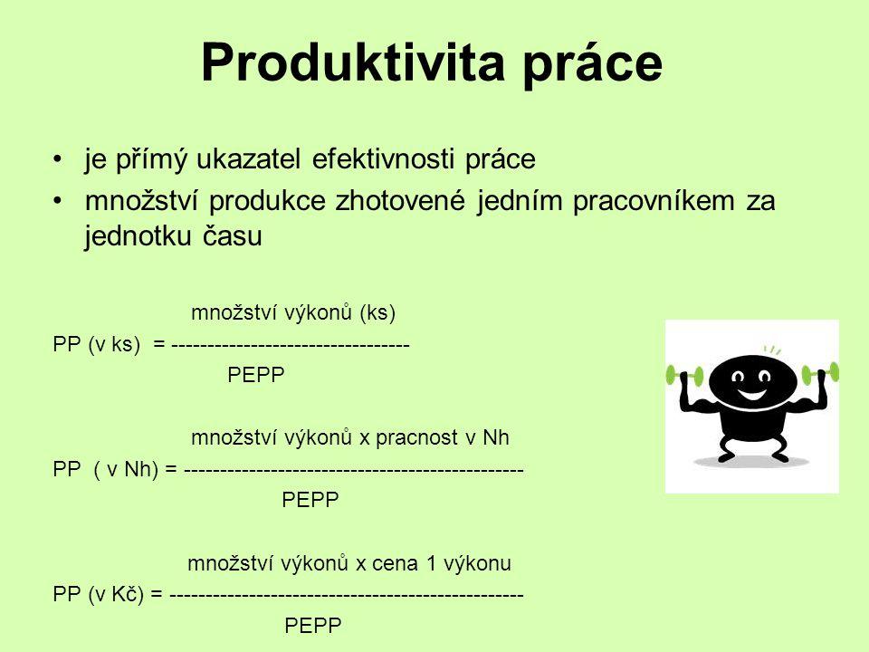 Produktivita práce je přímý ukazatel efektivnosti práce
