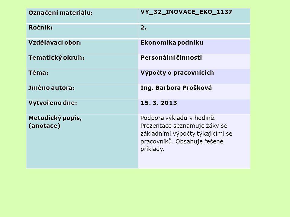 Označení materiálu: VY_32_INOVACE_EKO_1137. Ročník: 2. Vzdělávací obor: Ekonomika podniku. Tematický okruh: