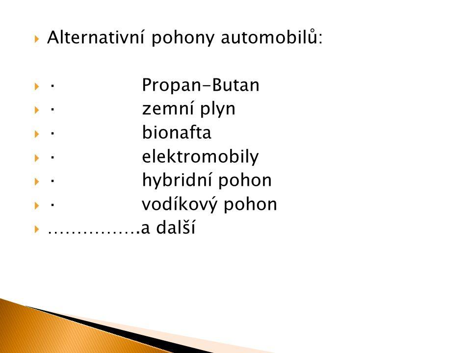 Alternativní pohony automobilů: