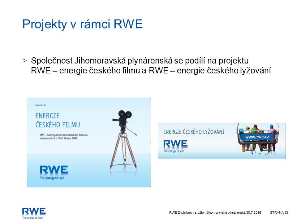 Projekty v rámci RWE Společnost Jihomoravská plynárenská se podílí na projektu RWE – energie českého filmu a RWE – energie českého lyžování.